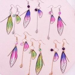 Rainbow Gradient Resin Asymmetric Butterfly Earrings for Women 2020 Glitter Crystal Simulation Wing Drop Earrings Party Jewelry