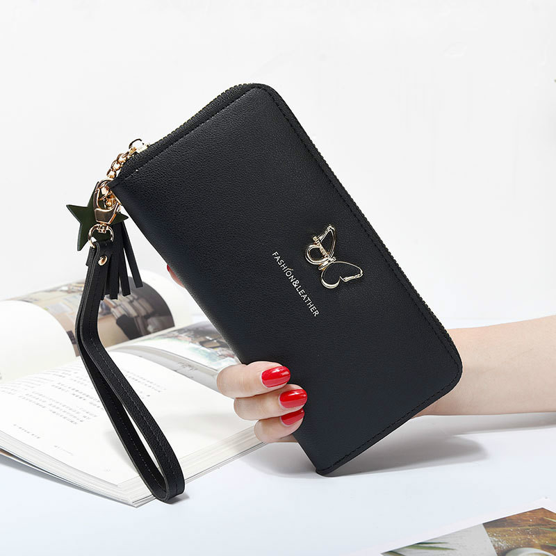 Women Wallet Handbag Pouch Phone-Case Wrist-Handle Money-Pocket Butterfly Long-Section