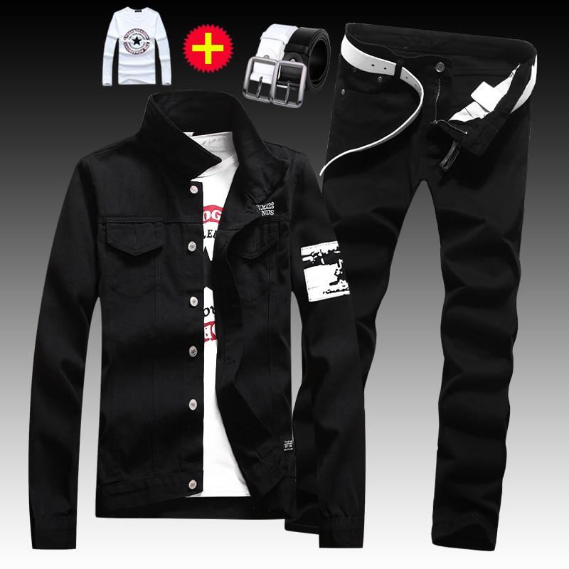 Spring Autumn Men's Washed Denim Jacket Pants 2Pcs Set Long Sleeve Coats Trousers Slim Fit Cool Pattern Boys Clothing A22