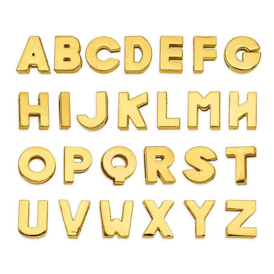 1pc A-Z 8mm gold color plain Slide Letters Fit DIY Wristband & Bracelet & Pet Collar Jewelry Making
