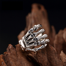 100% Pure 925 Sterling Silver Jewelry Punk Skull hand Ring For Men Special Christmas Gift FR029