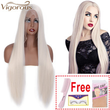 Vigorous Long Silk Straight Blonde Wig Synthetic Lace Front Wigs
