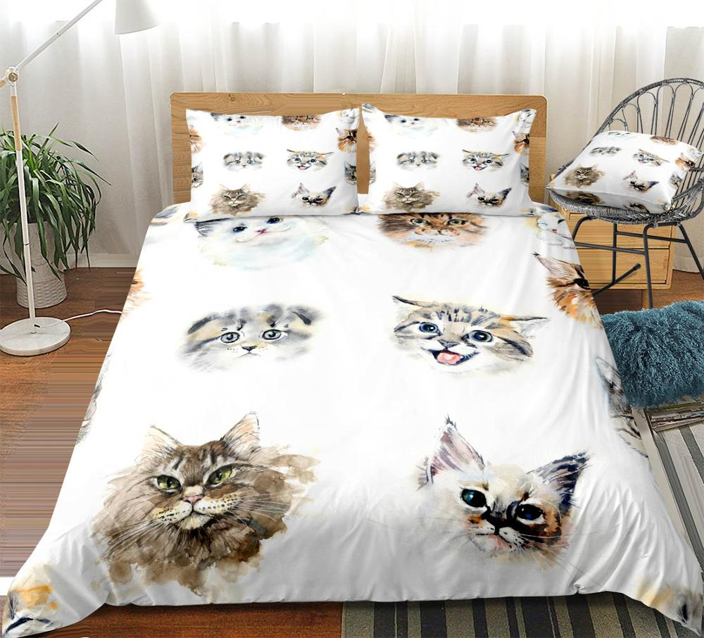 3 Pieces Watercolor Cat Duvet Cover Set Cute Pet Bedding For Kids Boys Girls Cat Quilt Cover King Bed Set Animal Dropship White