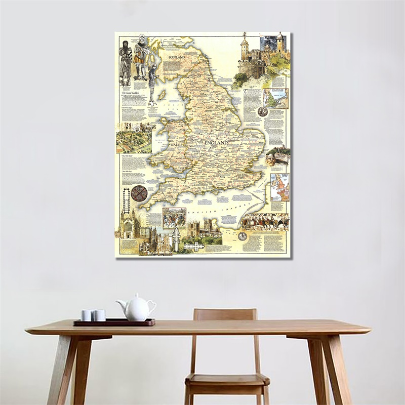 150x220cm World Map HD Printed Medieval England Map Vinyl Spray Painting Wall Art Map Posters And Prints Living Room