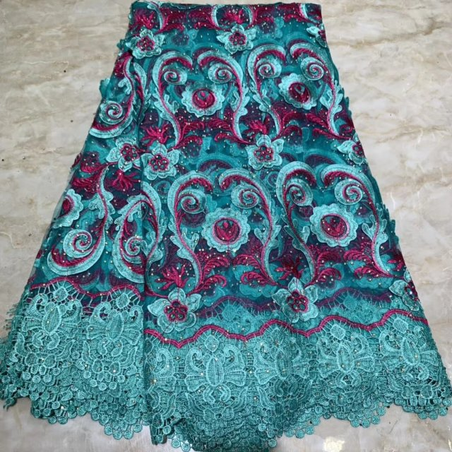 The Latest Lace Fabric Party Dress Nigerian African Lace Floral With Stones Embroidery High Quality France Tulle Lace Fabric