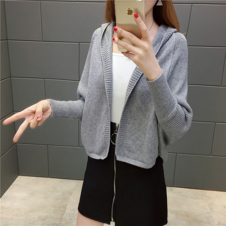 2019 Free send New style Korean loose and comfortable Autumn women Cardigan Sleeve of bat Hooded Sweater coat 129