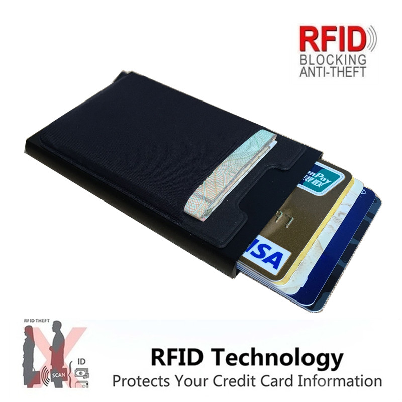 Aluminum Wallet With Elastic Back Pocket ID Credit Card Holder, RFID Mini Slim Coin Purse, Automatic Pop-up Bank Card Box Purse