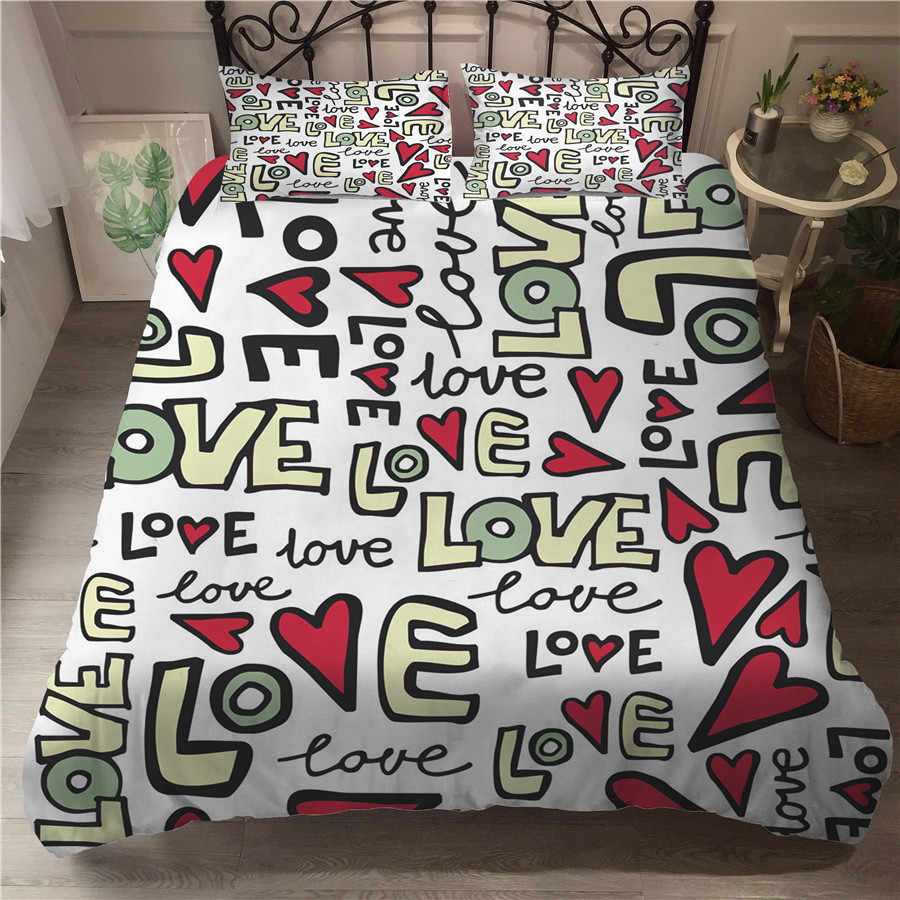 A Bedding Set 3D Printed Duvet Cover Bed Set Valentine's Day Home Textiles for Adults Bedclothes with Pillowcase #QRJ02