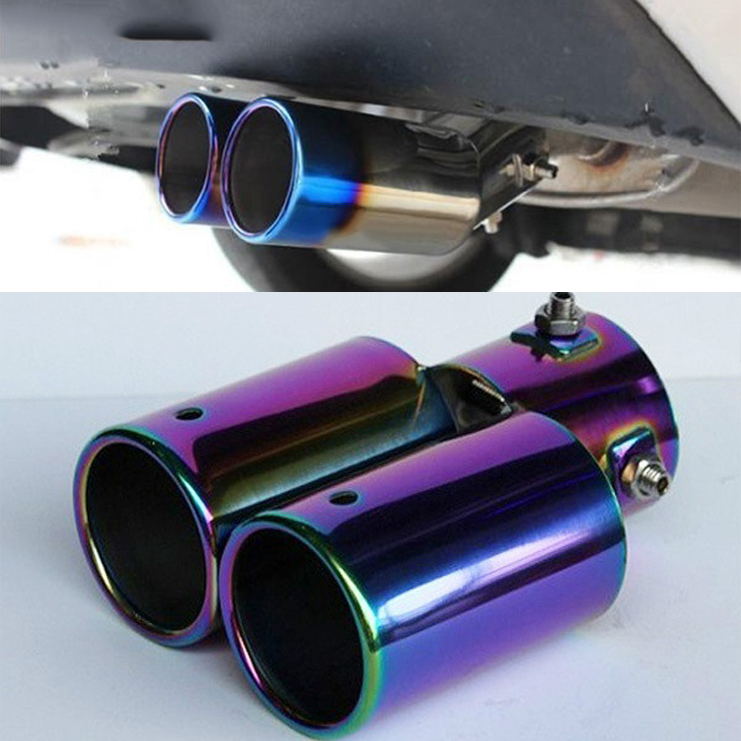 Vehicles Car Twin Stright Exhaust Pipe Rear Tail Silencer Muffler Universal