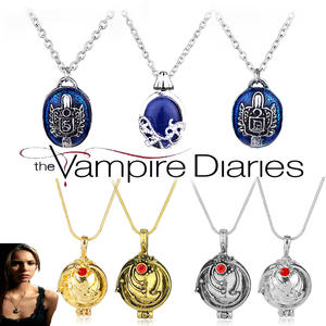 The Vampire Diaries Charm Necklace For Women Vintage Katherine Klaus Forbes Blue Stone