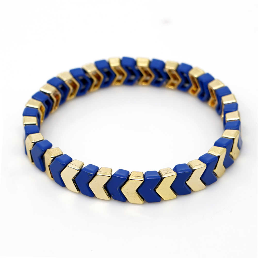 Shinus emalia płytki bransoletki do układania w stos strzałka bransoletka dla kobiet lato plaża moda Stretch biżuteria stopu farby złote koraliki
