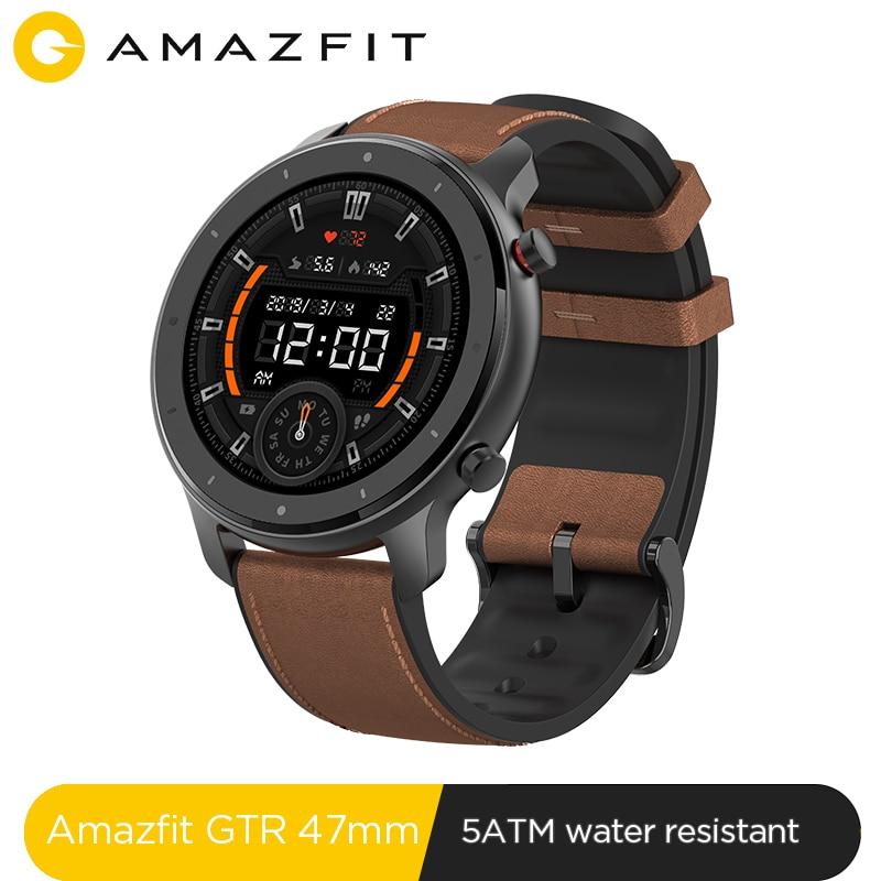 Em Estoque New 2019 Amazônia GTR 47mm Relógio Inteligente 24 Dias 5ATM Smartwatch À Prova D' Água Da Bateria Controle de Música Global Versão