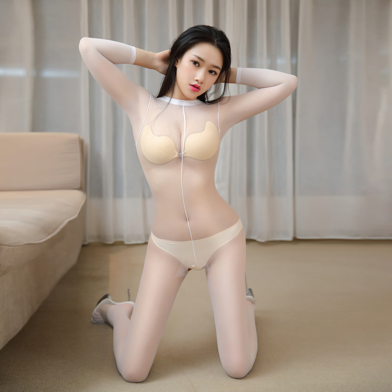 Sexy Full Body Stocking Fun Sheer Mesh Open Crotch Siamese Stockings Female Sex Flirting Suit White Stretch Elastic Pantyhose
