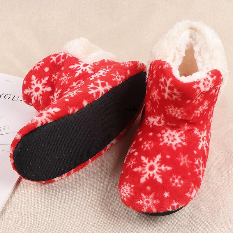 Kış kürk terlik kadınlar sıcak slaytlar noel terlik kadın kar tanesi ev ayakkabı bayanlar terlik Zapatos De Mujer