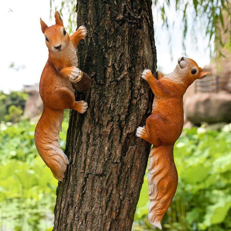 Garden Decoration Simulation Squirrel Sculpture Model Colophony Crafts Doll Kindergarten Furnishing Articles X3944