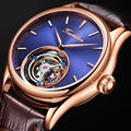 Real Tourbillon Watch Men Skeleton Mechanical Watch Sapphire Mens Watches Top Brand Luxury Rose gold Case Blue Clock Men Relogio