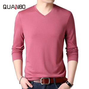 Comfort 8 Colors Men's Adult Long Sleeve Tee 2020 Spring Autumn New Men's Top Quality Mulberry Silk V-Neck T-shirt male Tops(China)