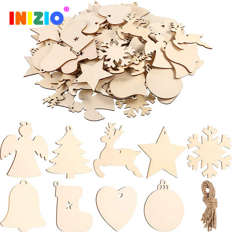 10pcs/Lot Christmas Wood Hanging Ornament Style Cute Star Wooden Pendant Room Decoration Wall  For House Xmas For Home Party