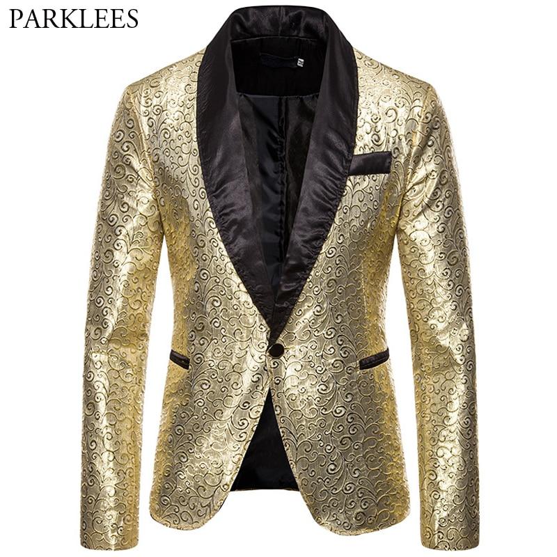 Jacquard Men Blazer Bronzing Gold Blazer Men Stage Performance Jackets Mens Suit Jacket Nightclub Party Tuxedo Blazers Masculino