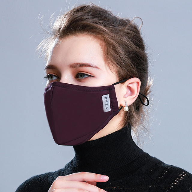 Tcare 1Pcs Fashion Cotton PM2.5 Face Mouth Mask + 12Pcs  Activated carbon filter for Men Women 4
