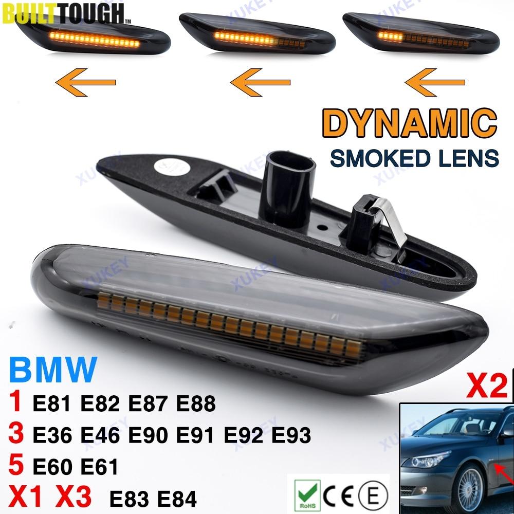 2x динамические боковые габаритные огни автомобильный Стайлинг Светодиодный Боковой индикатор указатель поворота дымчатые линзы для BMW E46 ...