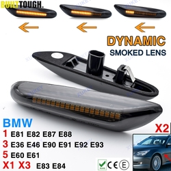 2x Dynamic Side Marker Flowing Lights Car Styling Led Side Indicator Turn Signal Light Smoked Lens For BMW E46 E90 E83 E X1 X3