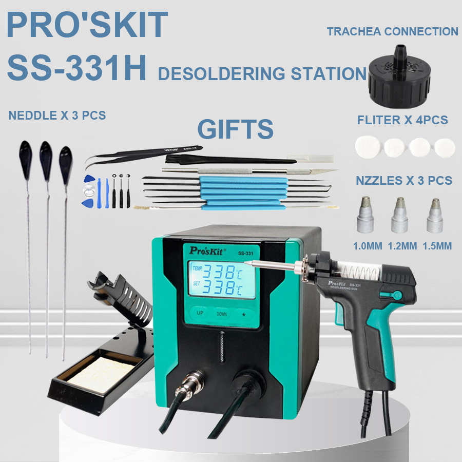 2019 New Release Pro'sKit SS 331H ESD LCD Digital Electric Desoldering Pump BGA Desoldering Suction Vacuum Solder Sucker Gun-in Desoldering Pumps from Tools