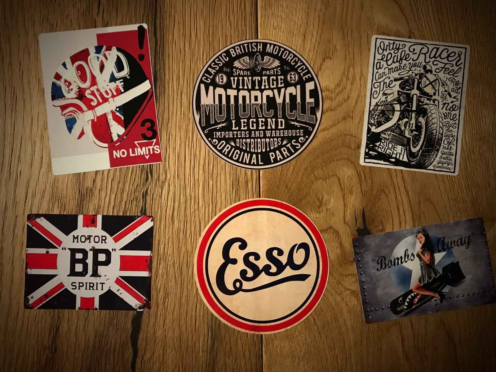6 different designs 6x Cafe Racer Stickers for Motorbikes and Toolboxes etc