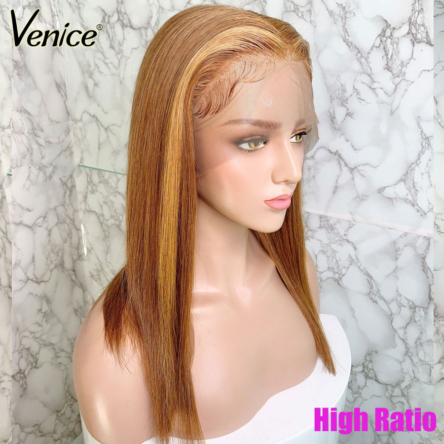 Venice Hair Ombre Lace Front Human Hair Wigs For Black Women 150% Straight Remy Hair Pre Plucked 13x6 Lace Wig With Baby Hair