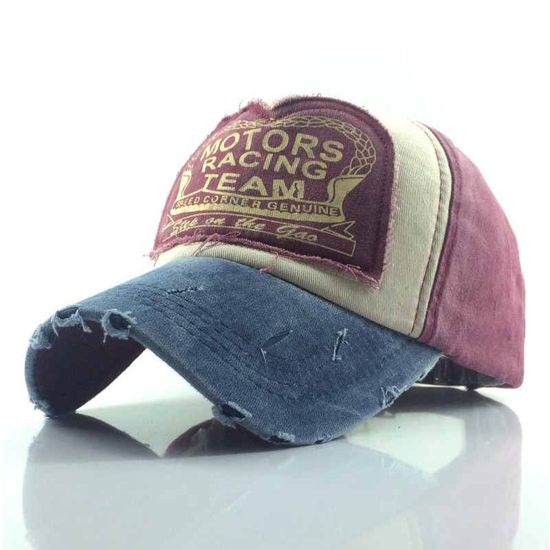 Of The Classic Worn-out Sticker Baseball Cap Washed Cotton MOTO Men And Women Fashion Outdoor Sunshade Hat Wholesale