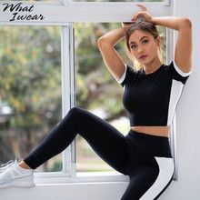 Women Basic Elastic Slim Fitness wear two pieces sets new popular Patchwork black white tops T shirt Sports leggings