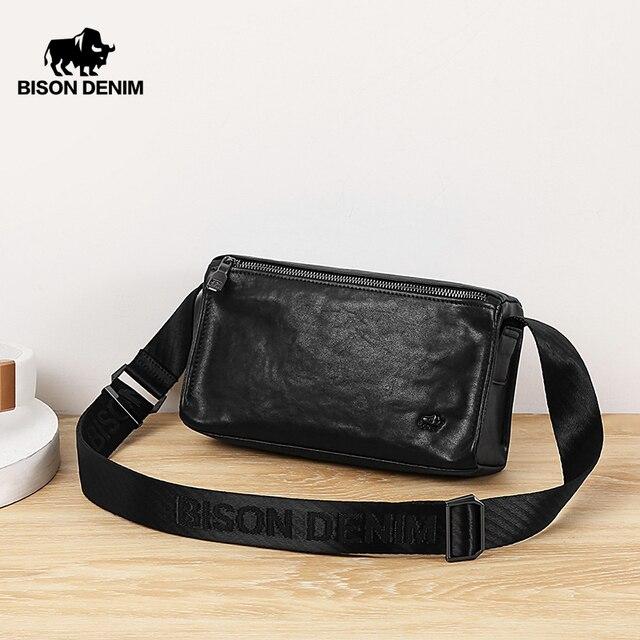 BISON-sac à bandoulière en cuir véritable pour hommes, petits sacs Business, sacoche Vintage, N20057
