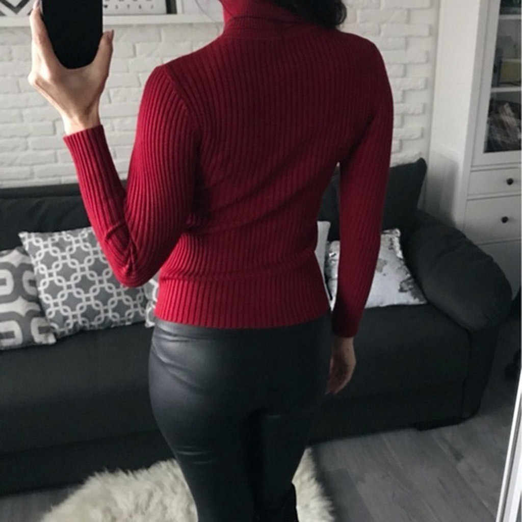 Womail 솔리드 편안한 캐주얼 겨울 패션 슬림 맞는 니트 스웨터 여성 탑스 터틀넥 간단한 당겨 femme nouveaute 2019
