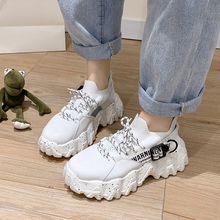 Fashion Ladies Socks Dad Shoes Lace-up Sneakers Women White