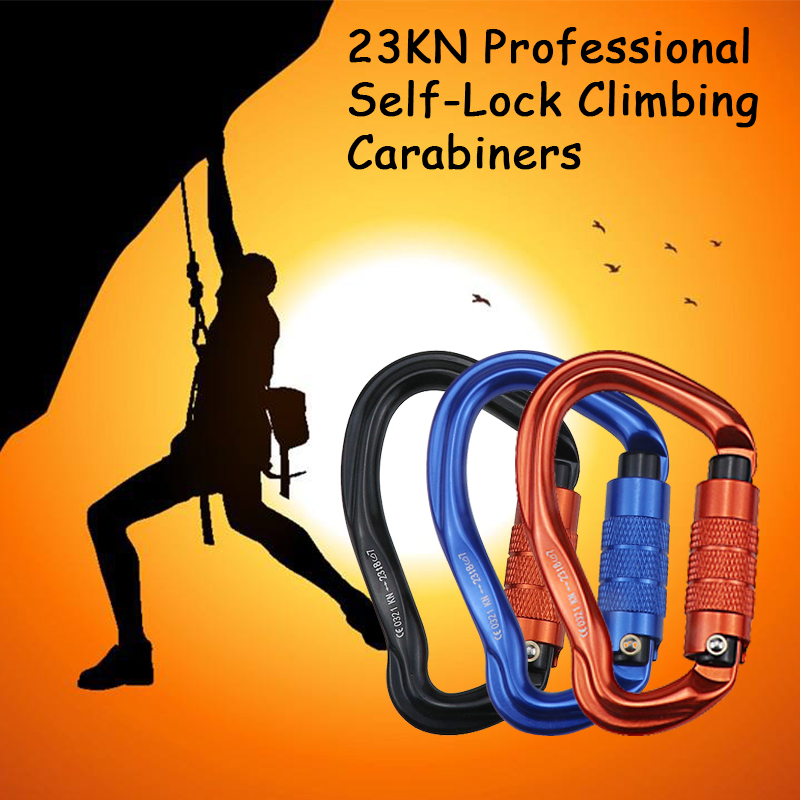 Professional Rock Climbing Carabiner 23KN Safety Auto Lock Pear-shape Safety Buckle Hiking Survival Kit Protective Equipment