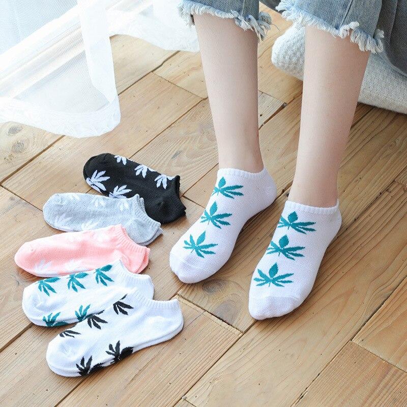 LJIQQ 5 Pairs Women Socks Maple Leaf Socks New Arrivel Short Socks Fashion Funny Socks