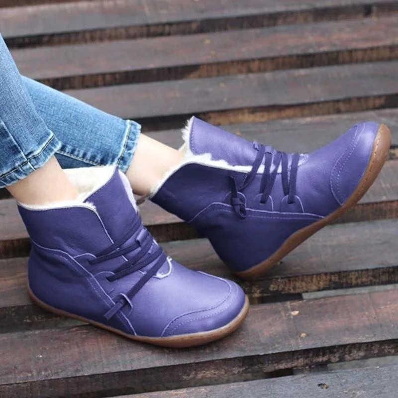 BONJOMARISA Dropshipping 34-43 parlak renk kürk botlar bayanlar rahat sıcak ayak bileği kar botları kadın 2020 kış alçak topuk ayakkabı kadın