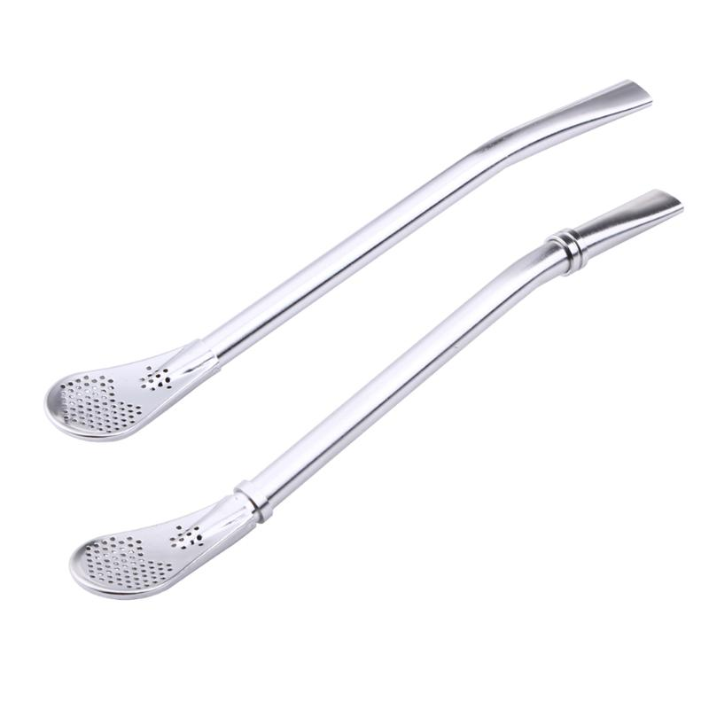 Stainless Steel Drinking Straw Spoon Tea Filter Yerba Mate Tea Straws Bombilla Gourd Reusable Tea Tools Washable Bar Accessories