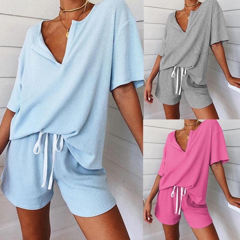 2020 Fashion Pajamas Sets Women Short Sleeve Tops + Shorts Set Nightwear Pyjamas Women Summer Sleepwear 2pcs/set Hot Sale