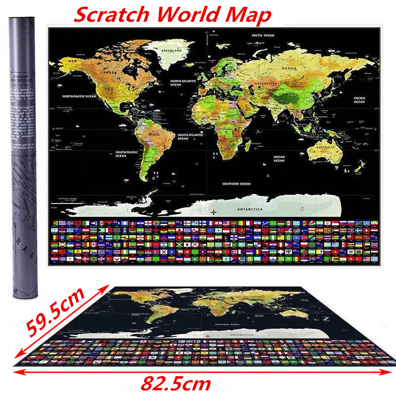 Scratch Off Journal World Map Of States Personalized Travel Atlas Poster With Country Flags 82.5*59.5CM