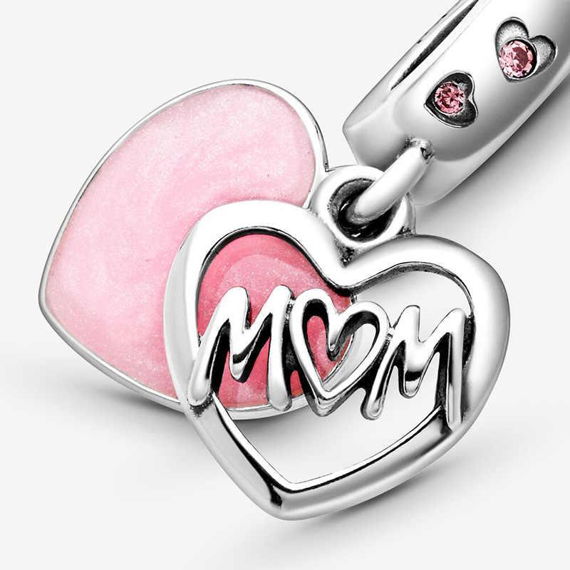 Yeni 2020 ayar gümüş 925 boncuk anne komut dosyası kalp Dangle Charms fit orijinal Pandora bilezikler kadınlar DIY takı