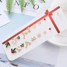 8pairs Christmas Stud Earrings Set Santa Claus Snowman Deer Bell Christmas Tree Christmas Gift Jewelry Accessories For Women merry christmas santa claus jewelry sets lovely enamel father christmas dangle earrings ring necklace bracelets jewelry set gift