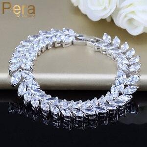 Image 1 - Pera Luxe 925 Sterling Zilveren Bruids Partij Sieraden Bladvorm Cz Crystal Stone Grote Bruiloft Armbanden Armband Voor Bruiden B025