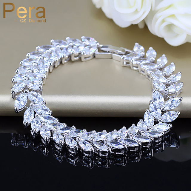 Pera Luxury 925 Sterling Silver Bridal Party Jewelry Leaf Shape CZ Crystal Stone Big Wedding Bracelets Bangle for Brides B025