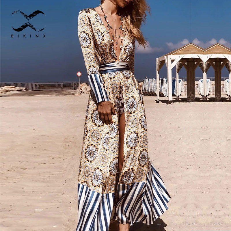 Sexy Print Cover-ups 2020 Patchwork Striped Swimwear Women Bandage Beach Cover Up V Neck Summer Swimsuit Female Long Beach Dress