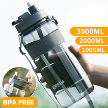2021 New Sport Drinking Water Bottle with Straw BPA Free 1000 Ml 2000ml Plastic Water Drinking Bottle for Water 1L