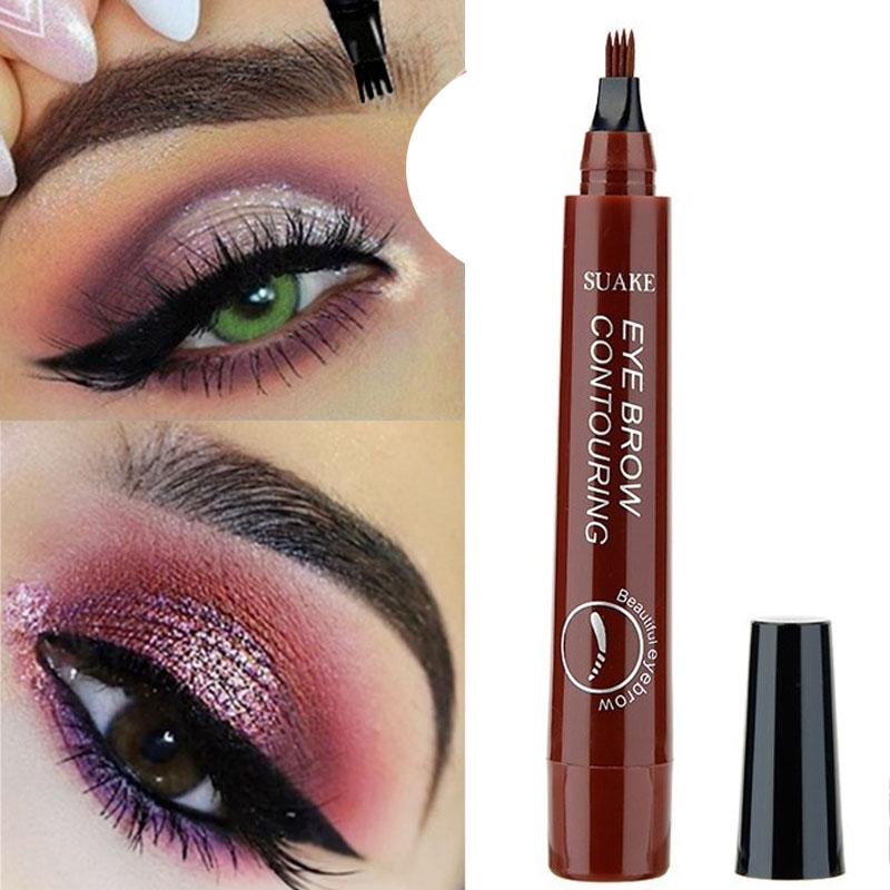Microblading Eyebrow Pencil Tint 4 Tip Liquid Brow Tattoo Pen 5 Colors Paint Makeup Eyebrows Waterproof Cosmetic Eye Brow Liner