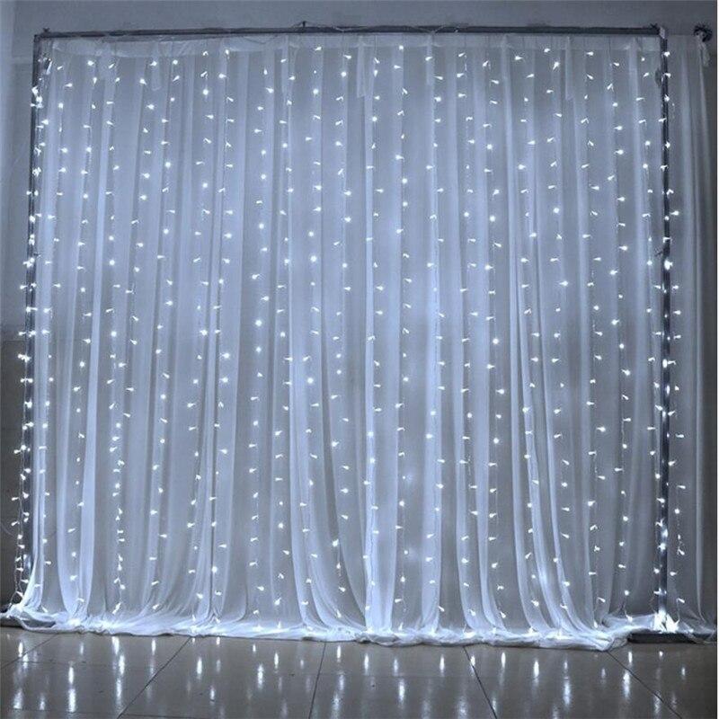 6M x 3M 600 LED ev açık tatil noel dekoratif düğün noel dize peri perde Garlands şerit parti ışıkları