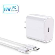 Pour iPhone 11 Pro XR XS Max 12 Mini câble de chargeur PD 18W chargeur rapide adaptateur secteur Type C