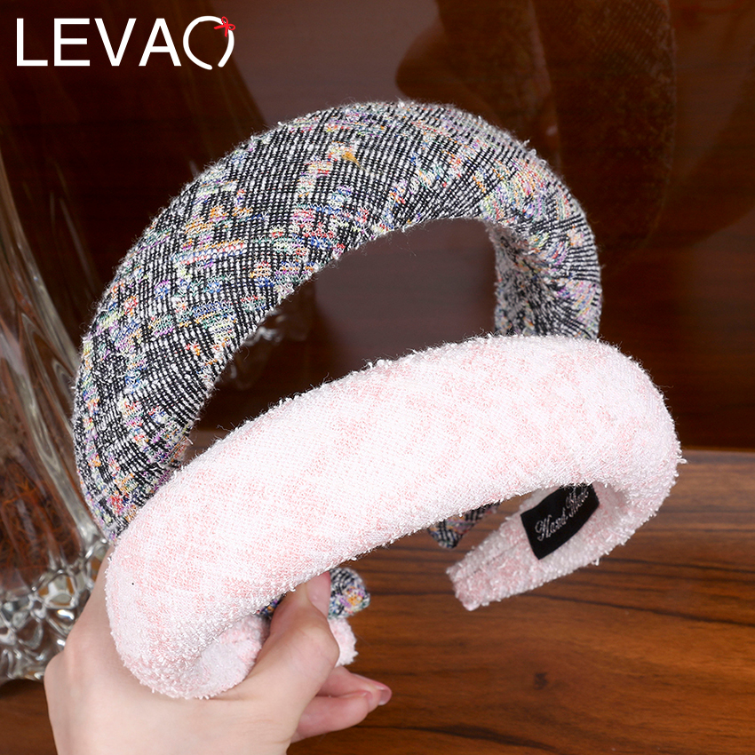 Levao Winter Thick Padded Headband Colorful Wide Sponge Hairband Hair Hoop Bezel Hair Bands For Women Girls Hair Accessories
